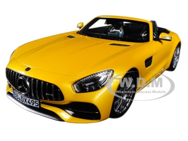 2017 MERCEDES AMG GT C ROADSTER YELLOW 1 18 DIECAST CAR MODEL BY NOREV 183451