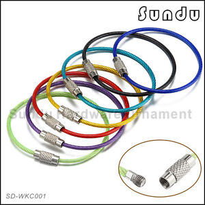 Wholesale-Stainless-Steel-Wire-Rope-Screw-Lock-Key-Chain-7Colours-5PCS-To-100PCS