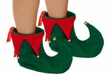 GREEN AND RED JESTER ELF BOOTS SHOES CHRISTMAS XMAS FANCY DRESS COSTUME BN