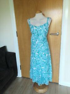 Ladies-PER-UNA-Dress-Size-14-Long-Tall-Aqua-Cotton-Floral-Party-Wedding