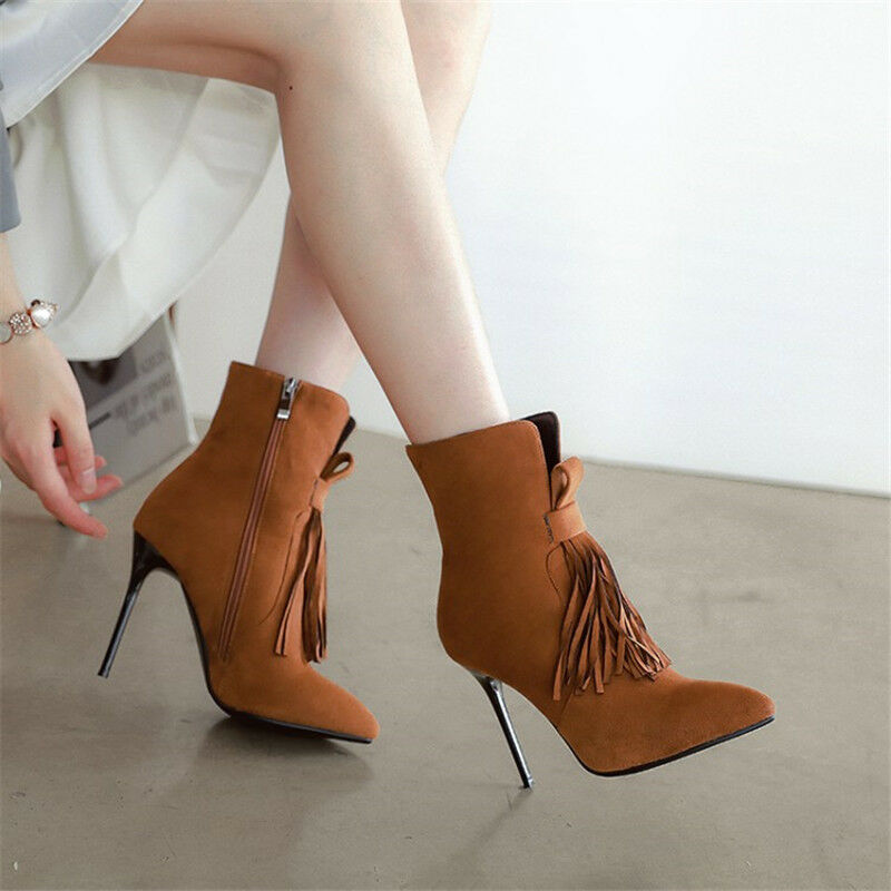 Elegant Womens Tassel Ankle Boots Pointed Toe Stiletto High Heel Suede Booties