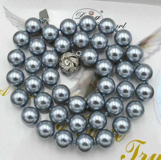 """8 mm round white South Sea Shell Pearl Fashion Collier 18/"""" AAA"""