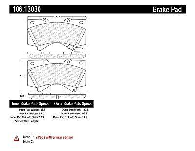 FRONT SET Posi Quiet Extended Wear Brake Disc Pads 106.13030 + Hardware Kit