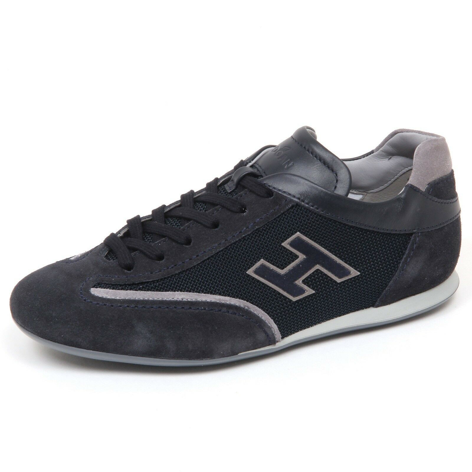 e9048 sneaker uomo blu hogan olympia scarpe slash h flock shoe man