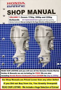Details about On Sale HONDA Outboard Service Manual Vol 7:  175hp+200hp+225hp FREE Extras-LOOK