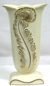 "Vintage Vase 1940s Embossed Gold Feather on Creamy Porcelain 11"" Height"