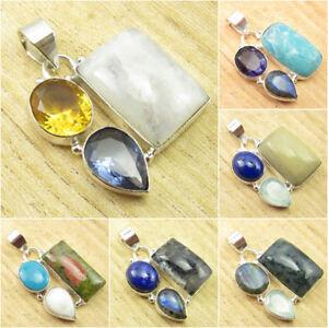 925-Silver-Plated-RAINBOW-MOONSTONE-amp-Other-Gemstone-HANDMADE-Pendant-Jewelry
