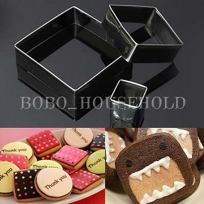 3pcs Stainless Square Fondant Cake Biscuit Cookies Cutter Pastry Baking Mold