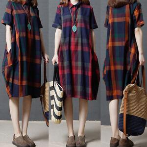 UK-STOCK-Women-Turndown-Check-Plaid-Shirt-Loose-Baggy-Tunic-Midi-Dress-Plus-Size