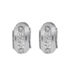 0.30 Carat Bezel Set Round Cut Diamond Huggy Earrings 14K White Gold