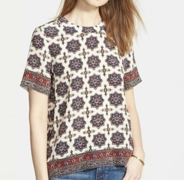 Madewell Silk Refined Tee Short Sleeved Top Medallion Stamp Größe Extra Small XS