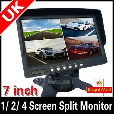 7 inch Car Rear View 1/ 2/ 4 Screen Split Monitor FOR CAR Rear View Camera UK