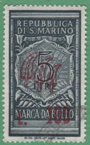 San Marino Revenue Barefoot #28 used 100L on 5L surcharge wmk crown 1948 cv $23