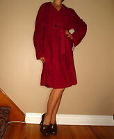 Marina Rinaldi Max Mara Natural Suede Dark Red Trench Coat MR21/12-14W-16W NWT