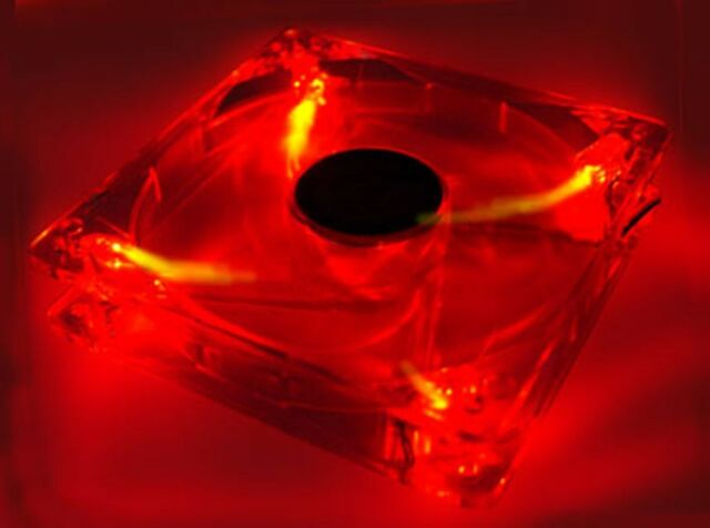 Red Quad 4-LED Light Neon Quite Clear 120mm PC Computer Case Cooling Fan Mod