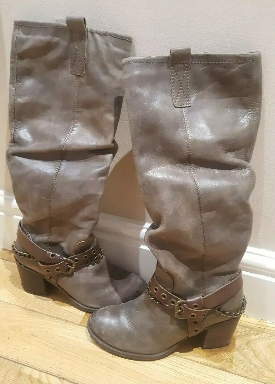DUNE SIZE 3 (36)REAL LEATHER TAUPE PETRI CHAIN & BUCKLE KNEE HIGH BOOTS Rrp
