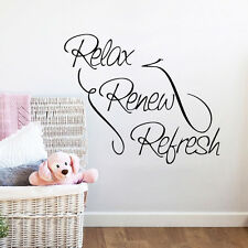Relax Renew Refresh Quote Decal For Bathroom Home Decor Art Vinyl Wall Sticker