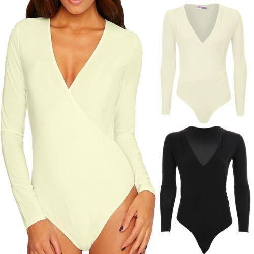 Womens V Neck Plunge Long Sleeve Basic Soft Slinky Wrap Bodysuit Leotard