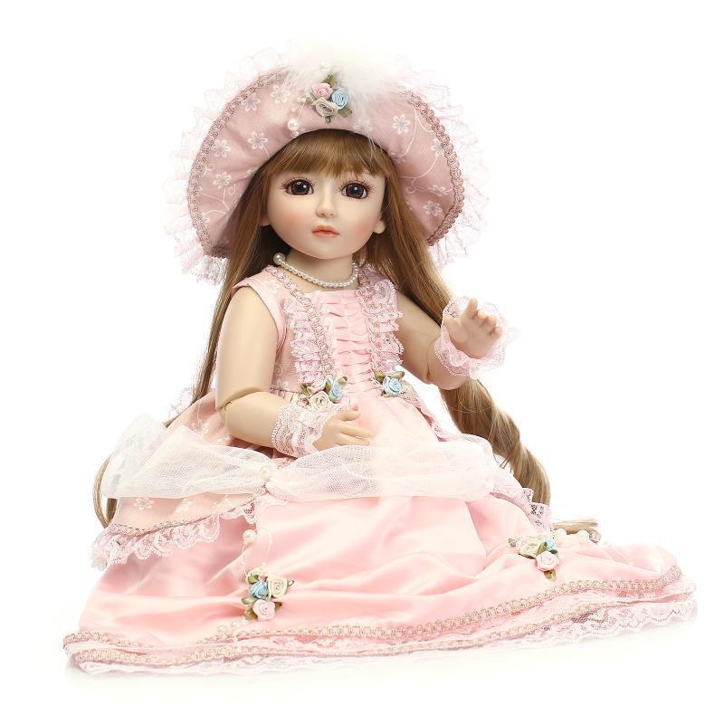 18'' 45cm BJD Hermosa Princesa cemento plástica Juguete Para Niña Bebe Muñeco Juguete Regalos