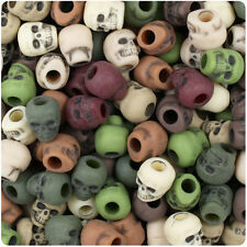 150 Camouflage Mix Antique 11mm Halloween Skull Pony Beads Made in the USA