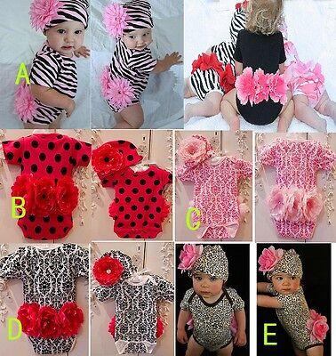 2 Piece Baby Girl Short Sleeve Peony Bodysuit & Beanie SET Photo Prop SZ 0/1/2/3