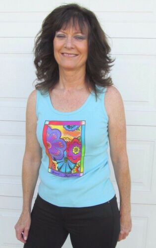 Laurel Burch Aqua Blue Bright Floral Design Sleeveless Cotton Tank Tee Shirt New