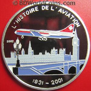 2002-TOGO-1000-FRANCS-SILVER-PROOF-CARAVELLE-JET-LONDON-SKYLINE-BIG-BEN-BRIDGE