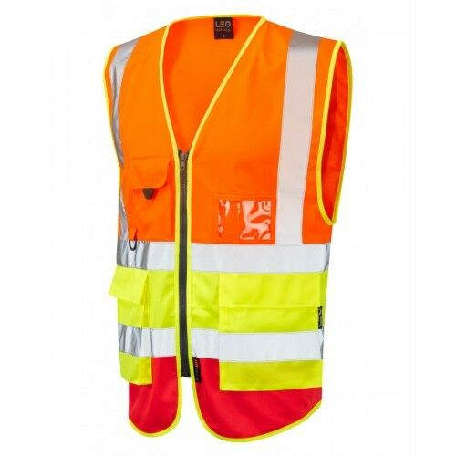 Giallo LEO Workwear Lynton Classe 2 Hi Vis Arancione Rosso Superiore Gilet