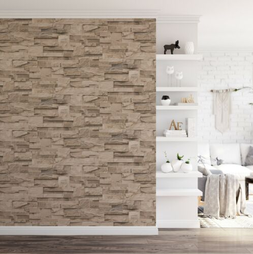 Thorn Slate Natural Beige Stone Brick Wall Effect Textured Vinyl Wallpaper