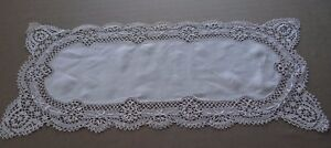 Vintage-French-Table-Runner-Hand-Embroidered-White-Linen-Lace-Bobbin-42-x-17-034