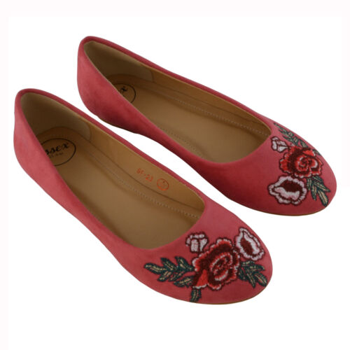 New Womens Embroidered Ballerina Pumps Ladies Slip On Casual Flat Shoes Size 3-8