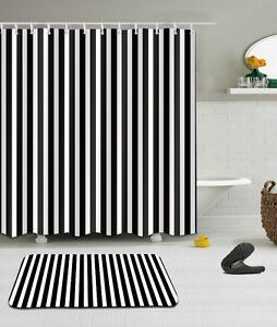Image Is Loading Black White Stripes Shower Curtain Bathroom Mat Set