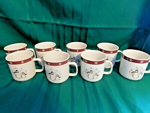 H-Royal-Seasons-Stoneware-Snowman-Coffee-Mugs-Lot-of-8-Holder-Christmas