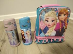 2x-Frozen-Thermos-Funtainer-Lunch-Bag-Elsa-Princess-Anna-Straw-Bottle-Pink-Blue