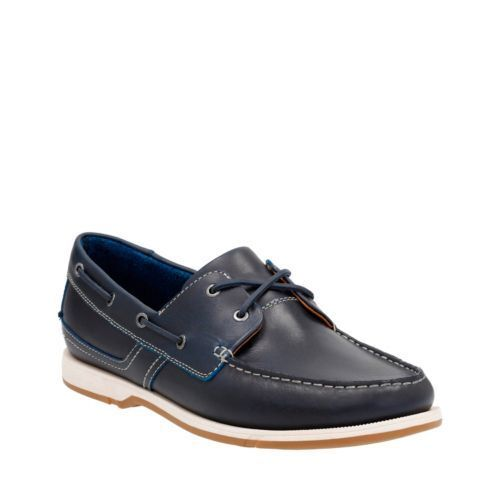 Clarks Men's Fulmen Row Navy Leather Boat Shoe 26124568