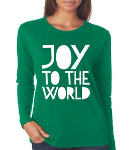 JOY TO THE WORLD Christmas song lyrics Women's crew neck long sleeve T-Shirt   eBay