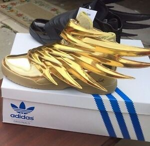 Hot Bundle Adidas Jeremy Scott Wings 3 0 Js Gold Black Batman Shoes 100 Genuine Ebay