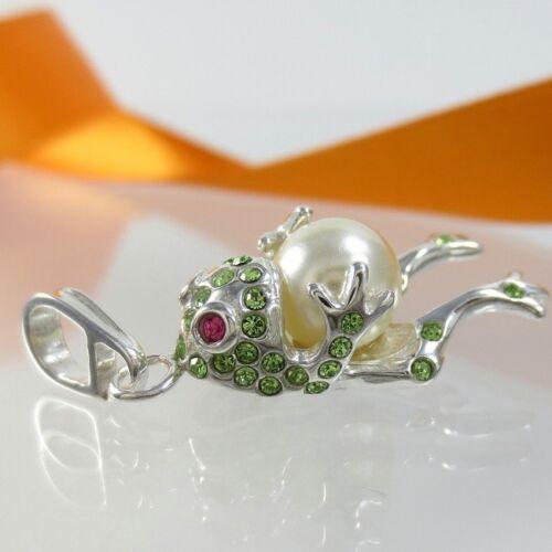 A662 rana remolque 925 plata joyas con swarovski elements cristal /& perla
