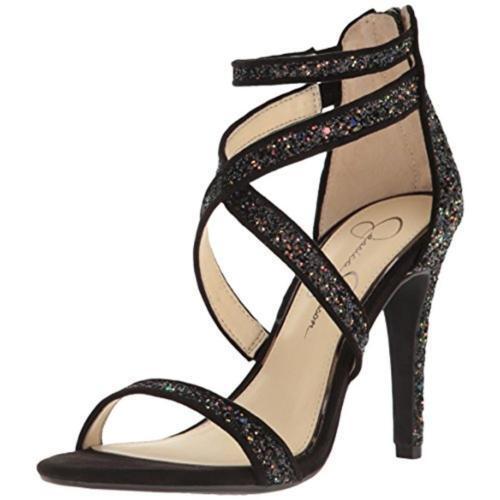 size 8.5 Jessica Simpson Ellenie Black Glitter Strappy Heel Womens Sandals