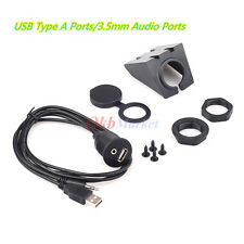 Car Dash Board Mount 3.5mm USB AUX In Input Socket Extension Lead Panel Cab