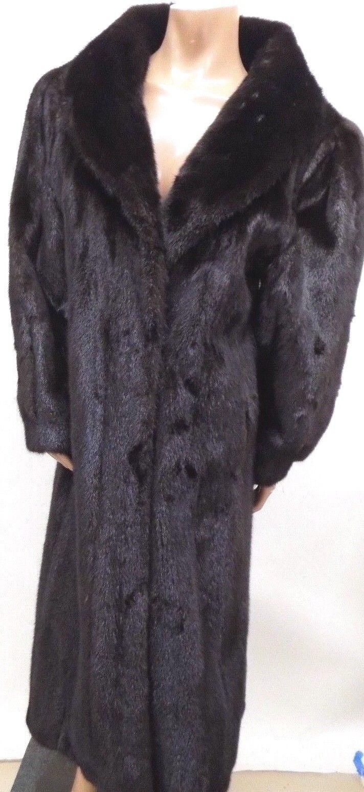 STUNNING GORGEOUS Marshall Field's Women's Full Length Dark Brown Mink Fur Coat