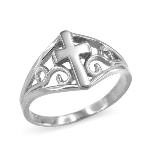 Solid 14k White Gold Filigree Motif Cross Ring