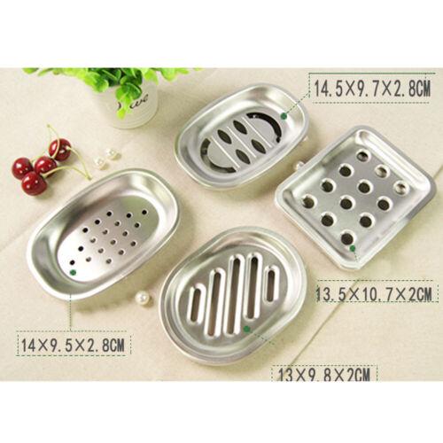 Drainable Soap Dish Stainless Steel Holder Strainer Rack Case Bathroom Organizer