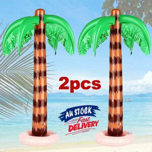 2Pcs Palm Tree Hawaiian Party Supplies Beach Pool Decor Blow Up 90cm Inflatable
