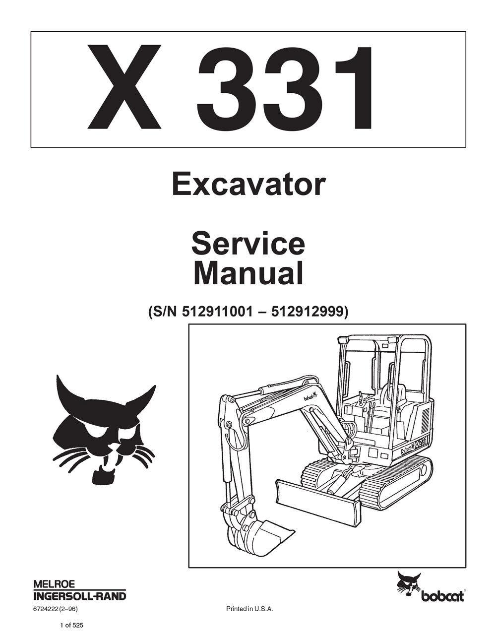 ... bobcat 331 compact excavator service manual shop repair book 2 part  Bobcat 331G Specs ${