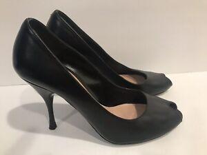 Prada-Womens-Peep-Toe-Slip-On-Pumps-Black-Leather-Size-35-5EUR-5-5US