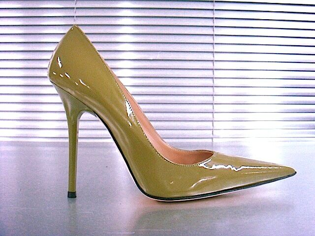 MORI MADE IN ITALY POINTY HIGH HEELS PUMPS SCHUHE LEATHER DECOLTE GREEN green 36