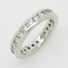 9ct White Gold Chanel Set CZ Stone Full Eternity Band Ring - Size L