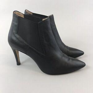 EG-Groesse-38-uk5-Schwarz-Leder-Ankle-Chelsea-Pull-On-SEXY-HEELS-Stiefel-aus-Italien