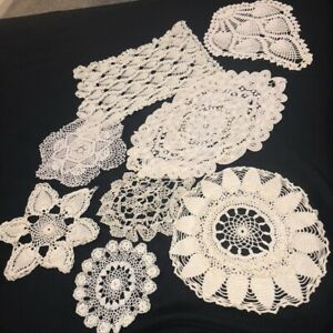 Vintage Mid Century Hand Crocheted Doilies Lot of 8 Ivory White Pineapple Rounds